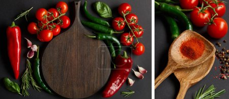 Photo for Collage of wooden cutting board near ripe cherry tomatoes, garlic cloves, rosemary, green chili peppers and spoons with paprika powder on black - Royalty Free Image