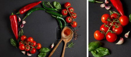 Photo for Collage of ripe cherry tomatoes, garlic cloves, rosemary, peppercorns, basil leaves and green chili peppers on black - Royalty Free Image