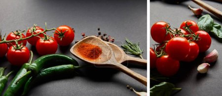 Photo for Collage of red cherry tomatoes, rosemary, peppercorns, basil leaves, wooden spoons with paprika powder and green chili peppers on black - Royalty Free Image