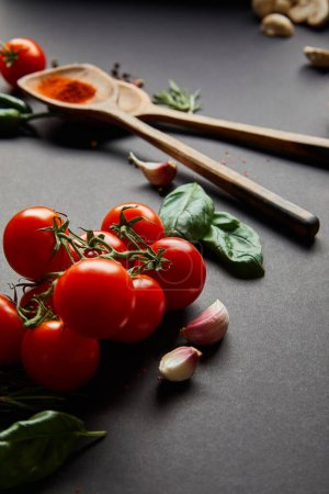 Photo for Selective focus of organic cherry tomatoes, garlic cloves, wooden spoons with paprika powder and green basil leaves on black - Royalty Free Image