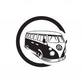 vector illustration silhouette vintage volkswagen van busep8eps10white background