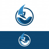 Windsurfing and windsurfer on waves in circle