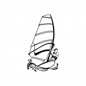 Windsurfing and windsurfer on waves Hand drawn sketch