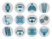 Set di icone della strumentazione di apnea