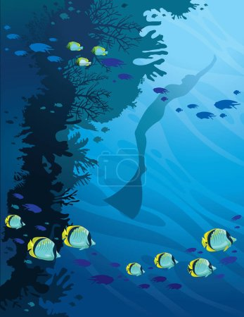 Silhouette of freediver, coral reef and butterfly-fish. Underwat