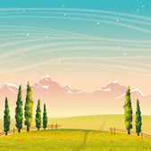 Summer landscape - cypress, mountains, field, flowers. Night sky
