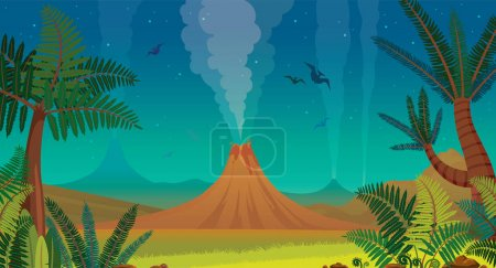 Illustration for Prehistoric landscape with active volcanoes, green ferns, silhouette of pterodactyl and night blue sky. Vector nature illustration. - Royalty Free Image