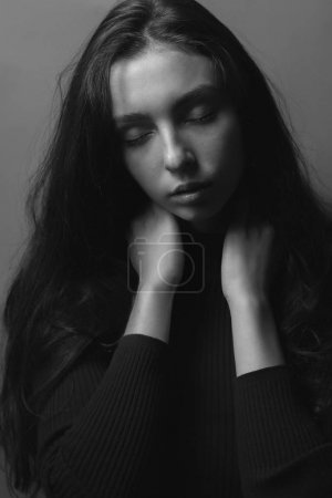 Photo for Black and white portrait of young woman with closed eyes - Royalty Free Image