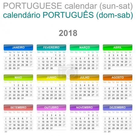 2018 Calendar Portuguese Language Version Sunday to Saturday