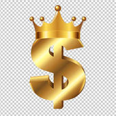 Dollar Sign With Crown With Gradient Mesh Vector Illustration