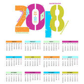 Cheerful and colorful calendar for the coming of the new year 2018 - light background