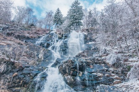 Photo for Todtnauer waterfalls at wintertime. Black forest, Germany Europe - Royalty Free Image