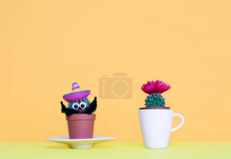 Photo for Small cactus in a flowerpot on a trendy background. Creative minimal design. - Royalty Free Image