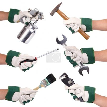 Photo for Hands with gloves and tools collage on white background - Royalty Free Image