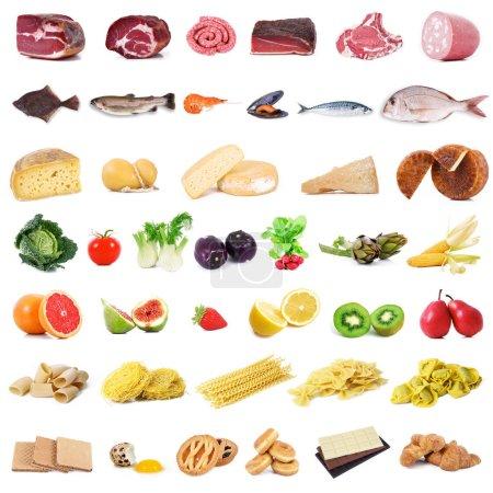 Photo pour Collage gastronomie globale sur fond blanc - image libre de droit