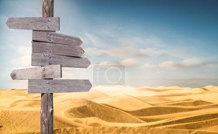 Photo pour Direction flèches en bois dans le désert - image libre de droit