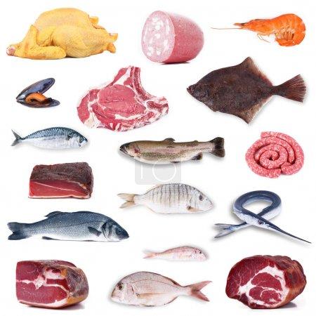 Photo pour Collage alimentaire divers sur fond blanc - image libre de droit