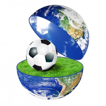planet Earth with soccer ball