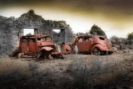 Photo for Ruins of houses destroyed by bombardment in the second world war - Royalty Free Image
