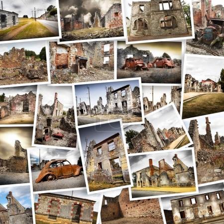 Photo pour Ruines de maisons détruites par les bombardements de la Seconde Guerre mondiale - image libre de droit