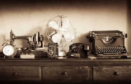 Photo for Vintage items on the dresser in the house - Royalty Free Image