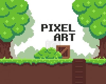 Illustration pour Pixel art fond avec herbe, boue, caisse, buisson, trou avec escaliers et arbres - image libre de droit