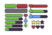 Pixel art game interface elements for hitpoints mana energy stamina Loading bar stars and buttons