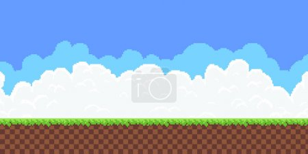 Pixel art game background with ground, grass, sky ...