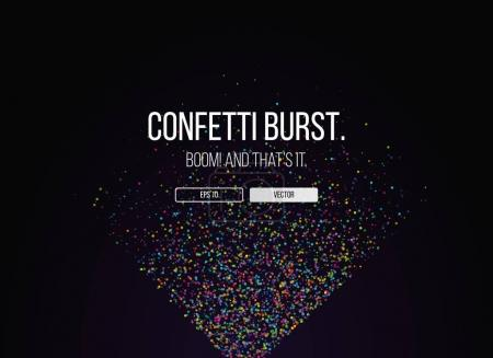 Illustration for Dark website template with confetti and two buttons - Royalty Free Image