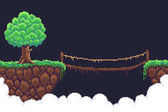 Pixel art game background two islands  in clouds bushy tree and rope bridge