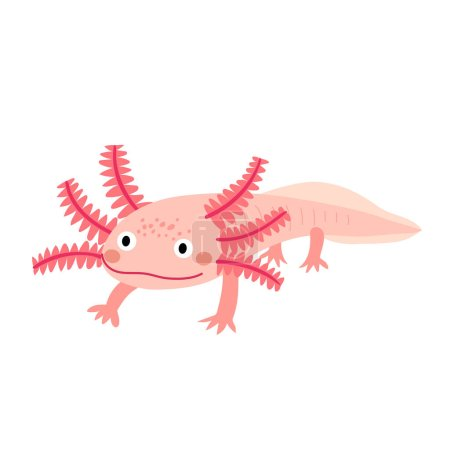 An axolotl cartoon character. Mexican salamander o...