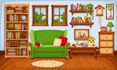 Cozy living room interior Vector illustration