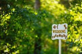 Wooden sign pointing to the wedding ceremony in the forest. Background green forest. Warm sunny day