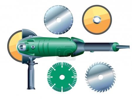 Angular grinding machine and grinding wheels