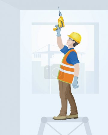 Illustration for The builder in overalls with the tool in hands. Vector illustration. - Royalty Free Image