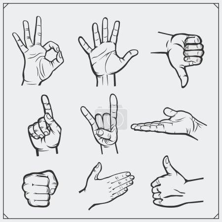 Illustration pour Des mains de gens. Des gestes différents. Illustration vectorielle. - image libre de droit