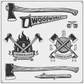 Vector set of vintage Lumberjack logos labels emblems and design elements Axes and saws
