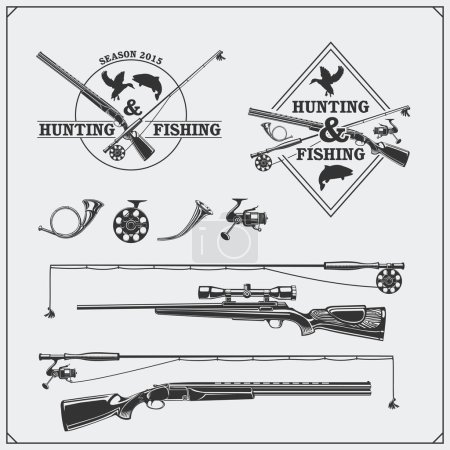 Illustration for Vector elements for vintage hunting and fishing club. Labels, emblems and design elements. Guns, rods and hunting horns. - Royalty Free Image