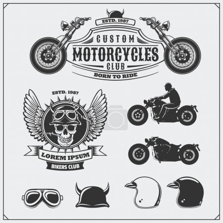 Collection of retro motorcycle labels, emblems, badges and design elements. Helmets, goggles and motorcycles. Vintage style. Monochrome design.