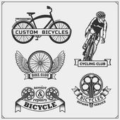 Set of cycle racing labels badges emblems and design elements