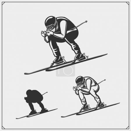 Downhill and slalom ski racer illustration.