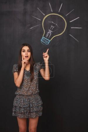 Young student girl points her finger at the lightbulb drawn on chalkboard. Surprised girl with open mouth has great idea