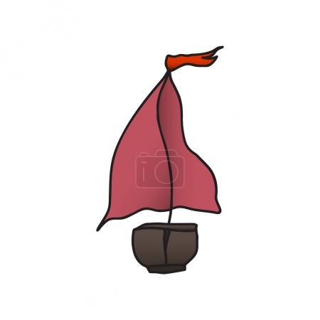 boat with a red sail. vector illustration. Drawing by hand