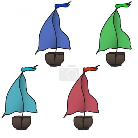 Set of four colorful boats. Vector illustration.