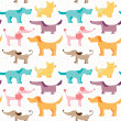 Dog friends vector seamless pattern. Pets colorful...
