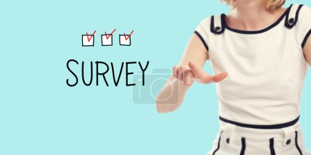 Survey concept with young woman