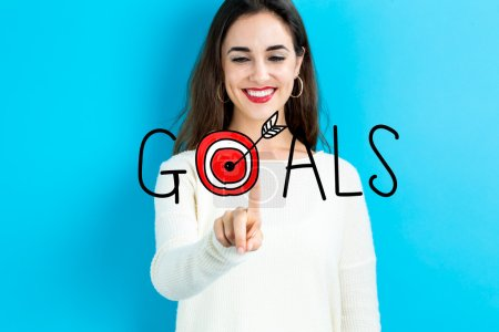 Goals concept with young woman