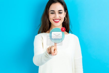 Email icon with young woman