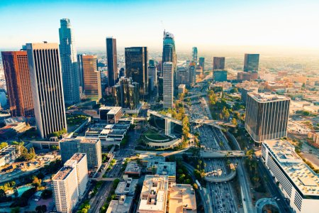 Photo for Aerial view of Downtown Los Angeles at sunset - Royalty Free Image