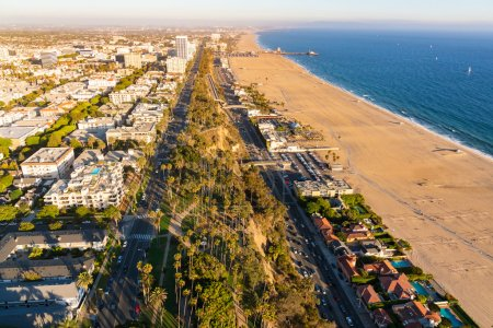 Aerial view from above on Santa Monica beach